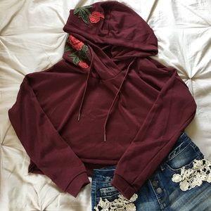 Embroidered Rose Crop Hoodie